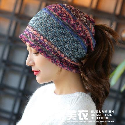 包頭帽女春夏韓版帽子女秋田園風三用套頭帽空調帽頭巾帽可露馬尾 米希美衣