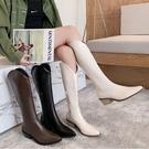 馬靴.韓風流行霧面皮革側拉鍊西部中跟尖頭靴.白鳥麗子