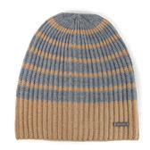MICHAEL KORS 金屬飾牌雙色針織條紋毛線帽 過年防寒 禮物(駝灰條紋-男女皆宜)