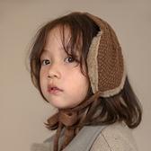 兒童耳罩 男女童兒童保暖耳帽加厚加絨寶寶耳罩毛線針織系繩頭帽【快速出貨八折鉅惠】