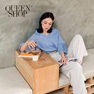 Queen Shop【01096248】後紐結條紋V領上衣 兩色售*現+預*