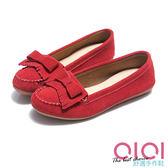 豆豆鞋 輕恬美人麂皮流蘇蝴蝶結豆豆鞋(紅) * 0101shoes  【18-995r】【現貨】