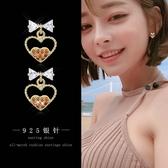 【免運到手價$98】銀針耳環韓國蝴蝶結耳釘女氣質百搭耳飾領結人工锆石耳墜