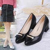 媽媽鞋春季2019新款淺口中跟粗跟婦女鞋單鞋高跟中年工作女士皮鞋 茱莉亞