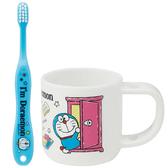 小禮堂 哆啦A夢 兒童牙刷杯組 附牙刷蓋 漱口杯 盥洗用品 3-5歲適用 (藍白 任意門) 4973307-49307