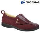 日本製造【MOONSTAR】Pastel 502女款健康照護介護鞋 - 酒紅(3E超寬楦)