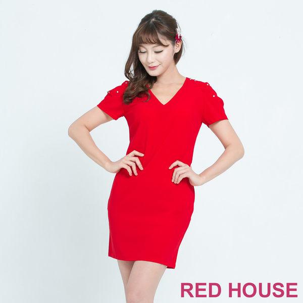 RED HOUSE-蕾赫斯-花苞袖釘鑽洋裝(共2色) 夏季優惠