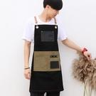 圍裙牛仔韓版咖啡奶茶店服務員理發師工作服男女工裝定制logo印字 快速出貨