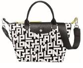 (聖誕限定特價) Longchamp LE PLIAGE LGP系列黑白字母短把小型手提包