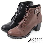 B-22188 女款短靴 率性飾釦綁帶側拉鍊粗中跟短靴【PRETTY】