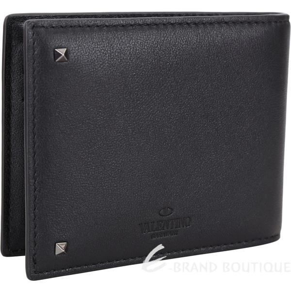 VALENTINO Rockstud 金屬鈔票夾鉚釘黑色牛皮六卡短夾 1830072-01