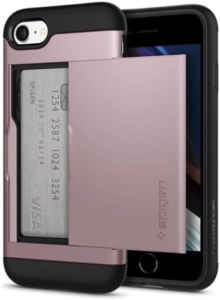【日本代購】Spigen iPhone SE / 8 / 7 適用新款MIL規格 耐衝擊防指紋 無線充電 保護套 玫瑰金