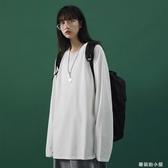 2020秋季新款女生長袖內搭體恤韓版寬鬆純色打底衫黑色百搭T恤潮『蘑菇街小屋』