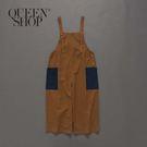 Queen Shop【04050550】女裝 親子系列 撞色雙口袋吊帶褲*現+預*