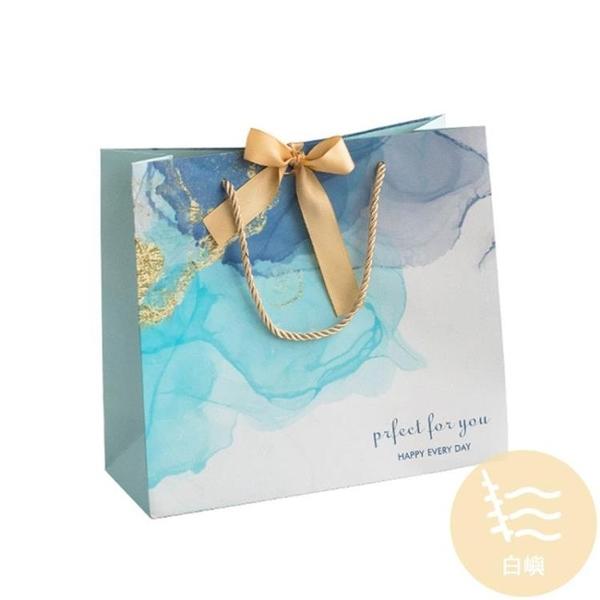 5個裝 蝴蝶結禮品袋漸變色母親節禮品包裝手提紙袋子【白嶼家居】
