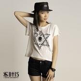【BTIS】六芒星骷顱圖 短版T-shirt  / 米白色