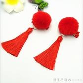 兒童格格頭飾品發夾女童中國風毛球發飾流蘇寶寶唐裝公主古代頭花 美眉新品