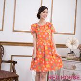 【RED HOUSE-蕾赫斯】滿版花朵雪紡洋裝(甜美橘) 滿2000元現抵250元