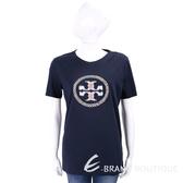 TORY BURCH MAYA 經典盾牌深藍棉質T恤 1820151-34