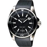 GUCCI Dive 時尚旗艦款200米潛水腕錶-黑/45mm YA136204A