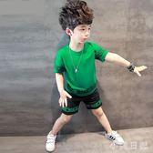 童裝男童中大尺碼新款套裝兒童短袖t恤韓版中大童半袖上衣 qf4979【小美日記】