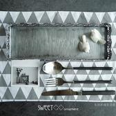 長條形蛋糕盤桌面收納盤蕾絲邊銀色點心盤高端婚禮甜品台道具【限時八五折鉅惠】