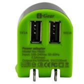 [富廉網] I-Gear 艾吉爾 3100mAh 雙USB 充電器(綠/黑) - T002D-BB