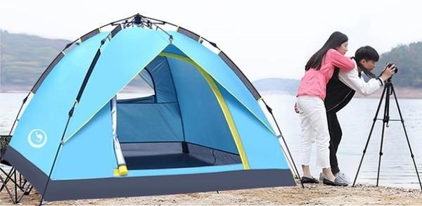 全自動戶外帳篷加厚雙人野外露營速開 野外露營速開