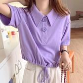 夏裝2020新款學院風polo衫短款短袖T恤女學生寬鬆半袖抽繩上衣服 Korea時尚記