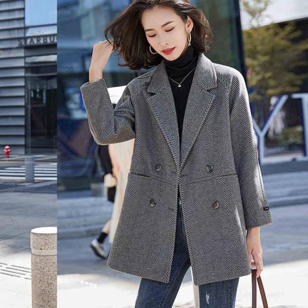 外套 长袖 百搭外套高端毛呢西裝外套女韓版時尚休閑寬松英倫風西服上身NE68-A1 胖妞衣櫥