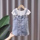 女童洋裝 女童夏裝套裝2021新款夏季牛仔背帶裙子小童時髦女寶寶洋氣兩件套