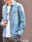 外套 春季男士牛仔襯衫外套男韓版學生休閒復古黑色寬鬆潮流長袖薄襯衣 3C優購