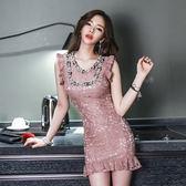 VK旗艦店 韓國風夜店性感鏤空蕾絲釘珠魚尾裙小禮服包臀無袖洋裝