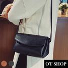 [現貨]  側肩背 斜肩背 小方包 翻蓋 多夾層 厚底 荔枝皮純色質感皮革  黑/棕色 H2003 OT SHOP