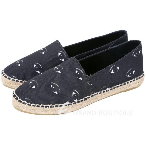KENZO Kasual 眼睛圖案帆布草編便鞋(黑色) 1620577-58