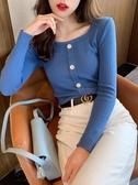 針織衫方領打底衫女裝春秋冬新款修身顯瘦時尚針織上衣長袖緊身毛衣 易家樂