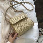 上新小包包女2019新款韓版百搭時尚單肩草編包洋氣編織斜挎小方包 滿天星