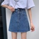 高腰a字牛仔半身裙子短款2021年夏季新款百搭顯瘦牛仔短裙女ins潮 果果輕時尚