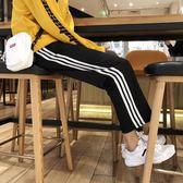 新款條紋闊腿褲男士韓版休閒褲學生運動褲寬鬆長褲潮流男褲子
