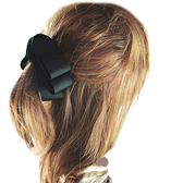 【粉紅堂 髮飾】好美層次緞帶蝴蝶結 香蕉夾*黑色*