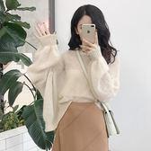 2019新款韓版港風復古氣質套頭慵懶寬鬆燈籠袖透視毛衣女薄款上衣