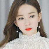 韓國簡約冰花鋯石純銀耳釘女氣質百搭個性耳環吊墜耳飾品流蘇耳墜   初見居家