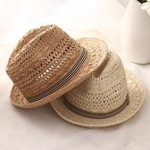 紳士帽 親子透氣爵士帽子 潮英倫禮帽夏天男士巴拿馬草帽 兒童沙灘太陽帽 快速出貨