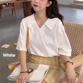 短袖襯衫 白襯衫女設計感小眾夏季2020年新款法式短袖上衣韓版v領娃娃衫潮 韓國時尚週