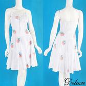【Deluxe】夏日繽紛玫瑰花刺繡細肩帶洋裝(白)