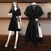 洋裝連身裙~牛仔洋裝~棉麻洋裝~吊帶連身裙氣質蕾絲拼接裙顯瘦兩件套潮4F119愛尚布衣