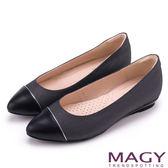MAGY 清新氣質款 親膚舒適拼色尖頭平底鞋-牛仔黑