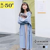 長版外套--優雅簡約風寬鬆修身加長口袋素色保暖針織外套(黑.藍XL-4L)-J248眼圈熊中大尺碼◎