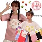 EASON SHOP(GQ0612)實拍糖果色夏日風繽紛水果塗鴉印花合身貼肩圓領短袖五分袖素色棉T恤女上衣服內搭