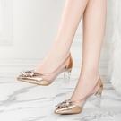 尖頭單鞋女2020春新款性感水晶鞋女透明高跟鞋粗跟仙女風女鞋 LF4383【宅男時代城】